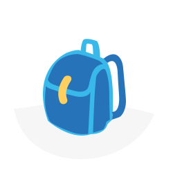 Blue school bag with yellow clasp